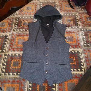 Rock & Republic Hooded Tuxedo Vest Gray Small